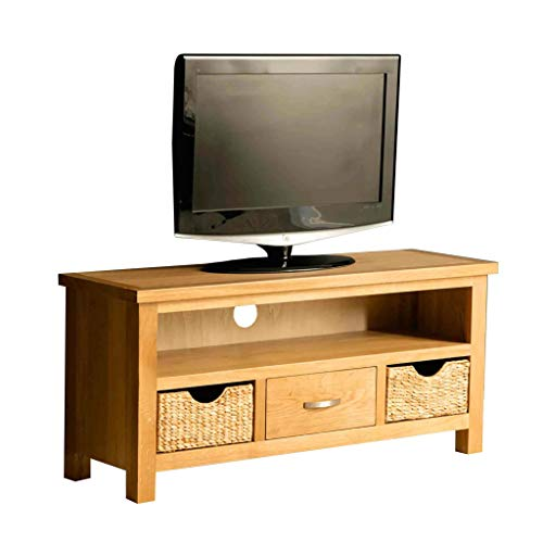 London Oak 110 cm TV Stand with Baskets for Living Room or Bedroom | Roseland Furniture Traditional Rustic Waxed Solid Wood Television Cabinet Unit Suitable for TVs up to 49 inches | Fully Assembled