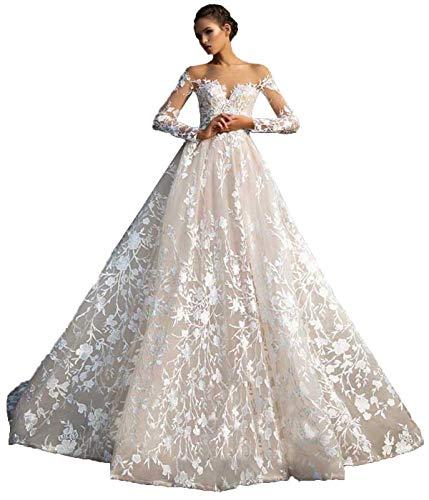 SDRESS Women's Illusion Neckline Lace Applique Long Sleeve Wedding Dress A Line Open Back Wedding Dress for Bride Off White Size 18