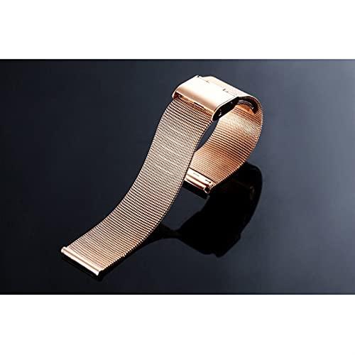 WGDPMGM Correa Reloj Pulsera de reemplazo de la Banda de la Correa de Acero Inoxidable de Plata para Reloj Inteligente 12 14 16 18 20mm 22mm 24mm (Band Color : Rose Gold, Band Width : 20mm)