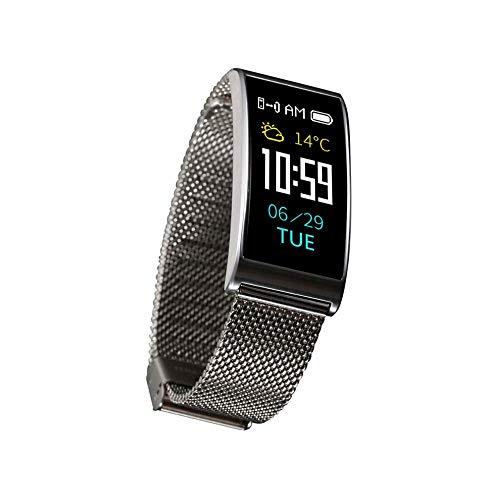 THj Rastreador de Actividad física, Reloj de Actividad con Monitor de frecuencia cardíaca, Pulsera Inteligente Impermeable con podómetro, Contador de calorías, para Mujeres y Hombres, Plateado