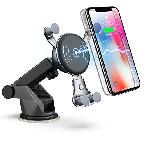 Benepower Wireless Car Charger, Dashboard & Windshield Car Mount, Cell Phone Holder, 10W Compatible for Samsung Galaxy S9/S9+/S8/S8+/Note 8, 7.5W Compatible for iPhone Xs Max/Xs/XR/X/ 8/8 Plus