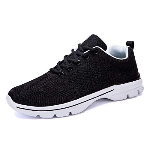 [MOXOCO] スニーカー レディース スポーツシューズ メンズ ランニング トレーニング ジョギング ウォーキングシューズ カジュアル 通気 軽量 運動靴 通勤 通学 日常着用 ブラック ホワイト 23.5cm