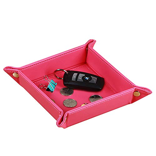 PUSU Desk Drawer Organizer Trays, Leatherette Folding Catchall Storage  Valet Tray for Jewelry Makeup Pens Keys Change Coins Dice Trinkets (Rose  Red)