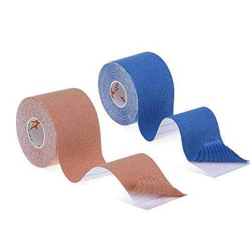 2 Stück (Doppelpack) Hautfarbenes/Blaues Kinesiologisches, elastisches Qualitäts-Sport-Tape in 5 CM Breite 5 METER Länge für Sport Therapie Freiz