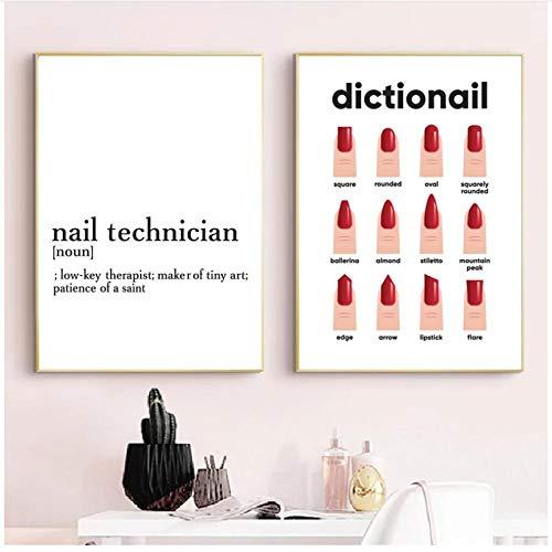 WLKQY Regalo impreso para manicurista con sus diseños de uñas, póster de uñas, decoración de salón de belleza, pintura en lienzo de moda, 50x70cmx2 sin marco