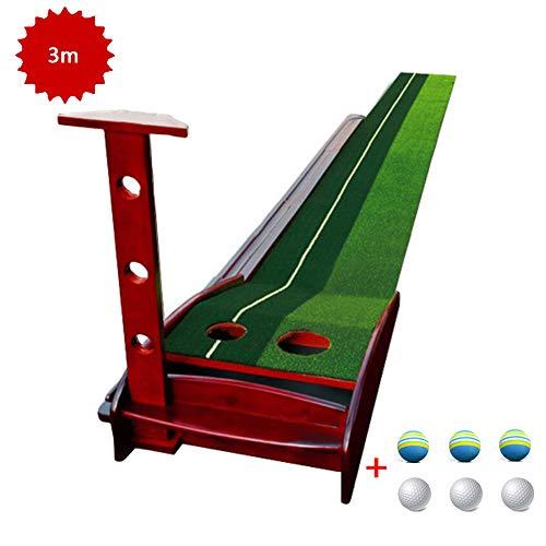 Portable Mini Golf Putting Mat - Binnen/Buiten Golf Putting - Planken Putting Mat - Professional Double Hole Indoor Putting Green Mat met Bal Return System,A