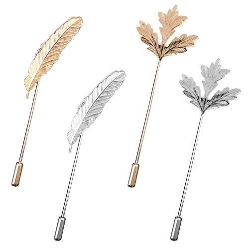 Ceqiny Broche para hombre diseño de hoja arce aleación diseño hojas árbol broche real joyería de oro y plata para sombreros bufanda pañuelos corbata traje de esmoquin decoración fiesta para mu