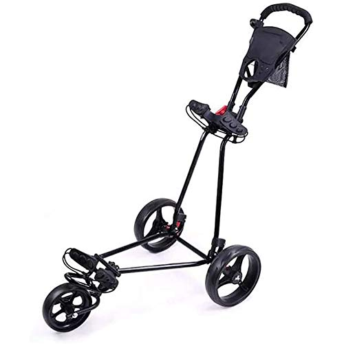 KXDLR 3 Wheel Golf Push Cart with 360 Rotating Front Wheel, One Second to Open and Close, Collapsible Golf Trolley, Golf Cart, Black
