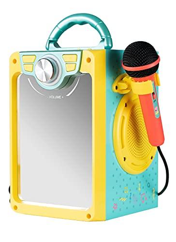 Peppa Pig Karaoke - Boombox Bluetooth con microfono e ingresso audio per bambini dai 3 anni in su, con effetti luminosi e lato anteriore a specchio