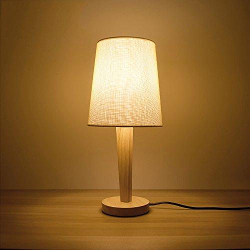 TOYM UK Personnalité créative japonaise simple moderne tissu en bois massif chambre lampe de chevet (Couleur : Couleur de lin)