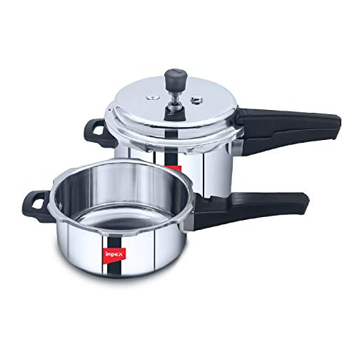 Impex EP-3C5 Induction Based Stainless Steel Pressure Cooker Combo of 3 Litre and 5 Litre, Silver