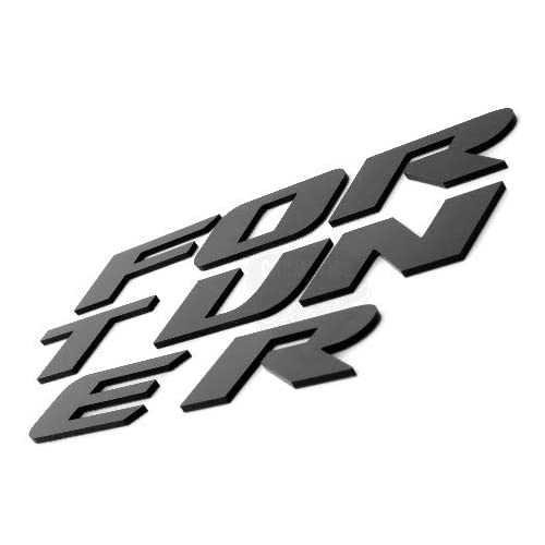 CarMetics Fortuner 3D Letters for Toyota Fortuner Glossy Black - 3D Letters 3D Logo 3D Sticker fortuner Accessories