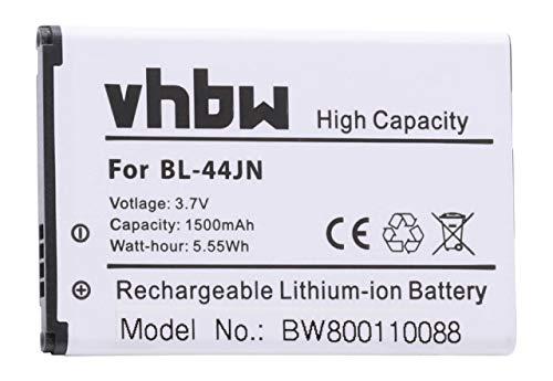 vhbw Li-Ion Akku 1500mAh (3.7V) für Handy Smartphone Handy LG E425F, E435F, E510, E510F, E610, E610F, E612 wie BL-44JN, 1ICP5/44/65, EAC61679601.