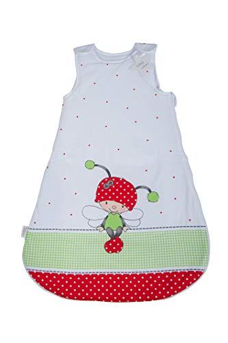 Herding Baby Best Baby-Schlafsack, Käferchen Motiv, 90 cm, Seitlich umlaufender Reißverschluss und Druckknöpfe, Weiß