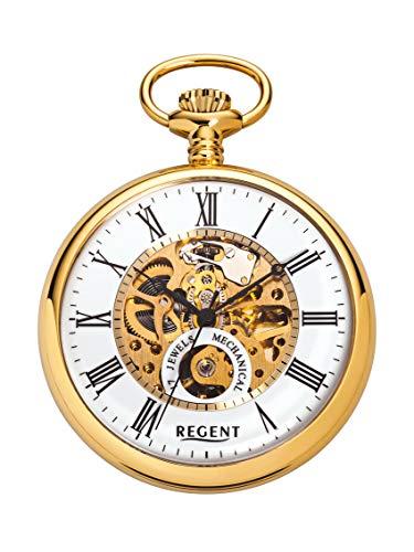 REGENT Taschenuhr – Zeitloses Accessoire für KULTIVIERTE Herren – IPG-vergoldetes, poliertes Edelstahlgehäuse – Inklusive Kette (Maße: Ø 50 x 13 mm) – C335313