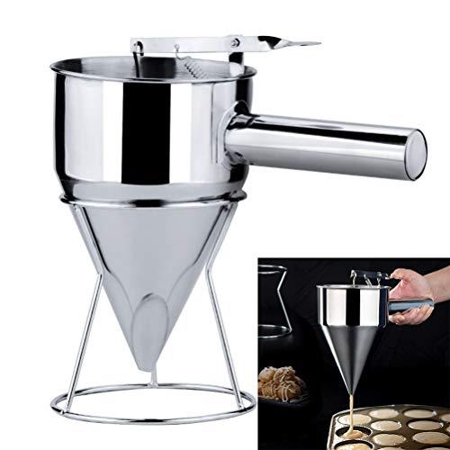 Haplws Edelstahl-Kolbentrichter mit Unterstützung Kuchen Desserts Küche Kochen Backwerkzeug für Sauce Sahne Dosiertrichter