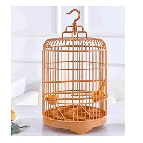 ZANZAN Gabbie per Uccelli Decorative Gabbia per Uccelli Rotondi Vintage con Supporto per Il rotolamento, Portatile Impermeabile ad Alta Resistenza di plastica Bird Gabbia di Volo con Ganci-Marrone