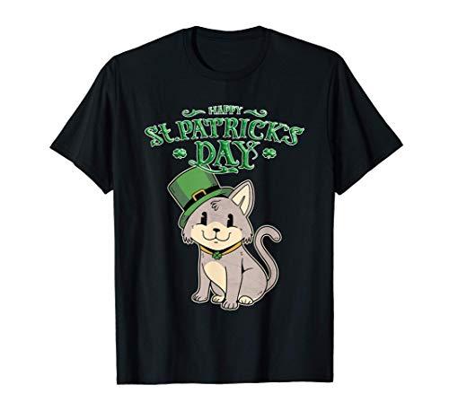 Happy St. Patricks Day Irland Katze m. grünem Hut irisches T-Shirt