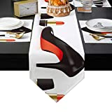 DaringOne High Heels Placemats Set, 6 Pieces Heat Insulation Placemat, Burlap Linen Table Runners for Home Kitchen Resturant Hotel Cabinet 16x72inch, Lipstick Female Fashion Cosmetics Black Red Gold