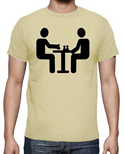 latostadora - Camiseta Jugador de Ajedrez para Hombre Crema S
