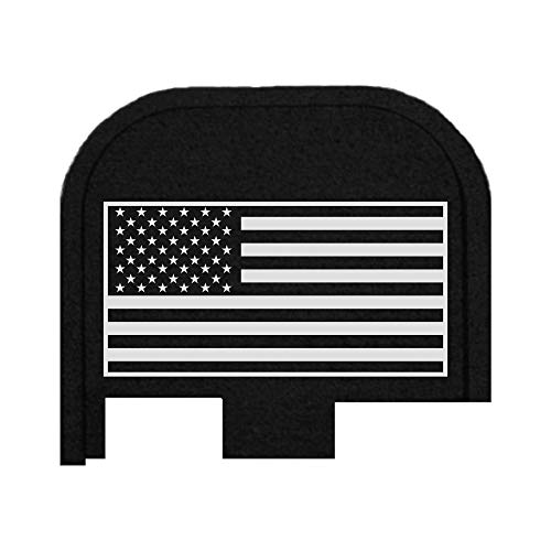BASTION for Glock G43, G43X and G48 9mm ONLY | Laser Engraved Back Plate Hard Coat Anodized Black T6 Machined Aluminum Slide Rear Cover Plate (USA Flag)