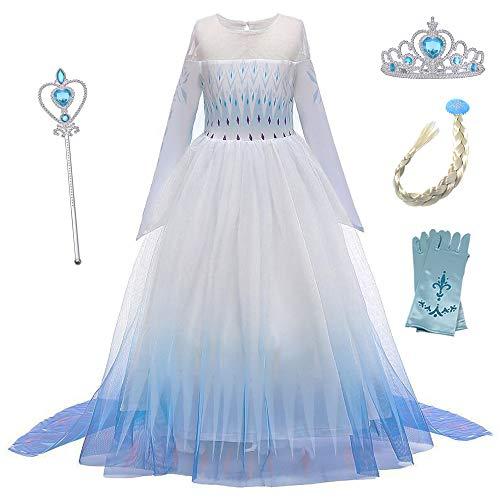 O.AMBW Vestido de Princesa con Capa Larga Falda Azul Violeta Disfraz de Frozen Cosplay de Princesa Disfraces de Carnaval con 4 Juegos de Accesorios Fiesta Halloween para Nias de 2 a 12 aos