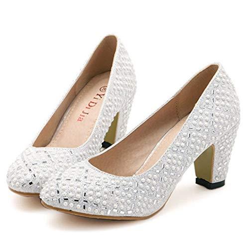 Zapatos de Boda para Mujer Zapatos de tacón Alto con Punta Redonda...