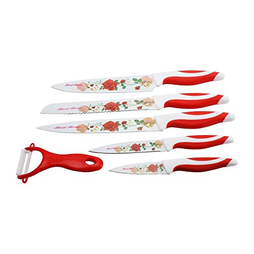 Lightahead LA-SKS00038c Colorful Stainless Steel Knife set, 16.1 x 10.2 x 1 inches, Red Rose