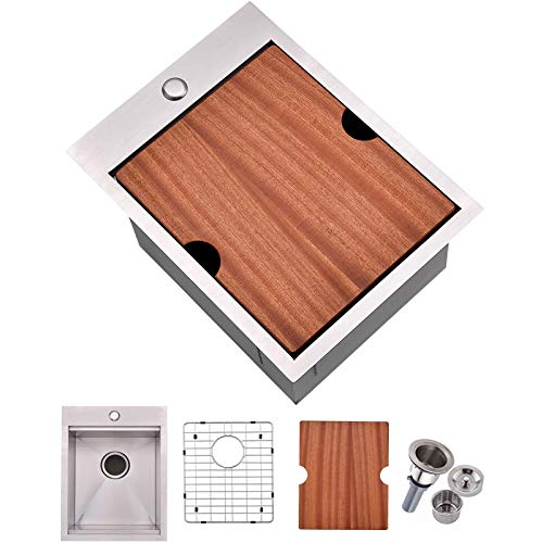 VALISY 15x20 inch 304 Stainless Steel Square Topmount Drop-In Small Workstation Kitchen Bar Sink,Single Basin Sink for Wet Bar Prep RV Yard Office Laundry with Dish Grid & Drain & Cutting Board