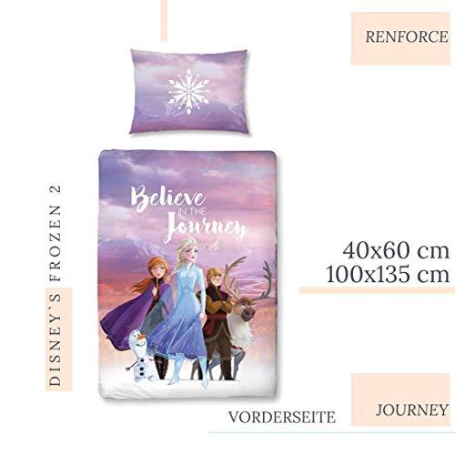Character World Disney Eiskönigin Bettwäsche Kinderbettwäsche für Mädchen ☆ Disney Frozen 2 Anna & ELSA - 1 Kissenbezug 40x60 + 1 Bettbezug 100x135 cm