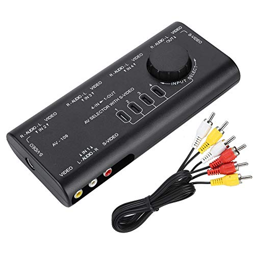 Zerone Conmutador de audio y vídeo, AV-109 4 en 1 salida AV RCA caja interruptor AV Audio Video Switcher 4 vías divisor