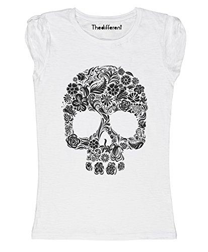 New T-Shirt Donna Fiammata Teschio Fiori Idea Regalo