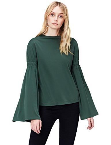 Marca Amazon - find. Camisa Manga Acampanada para Mujer, Verde (Green), 42, Label: L