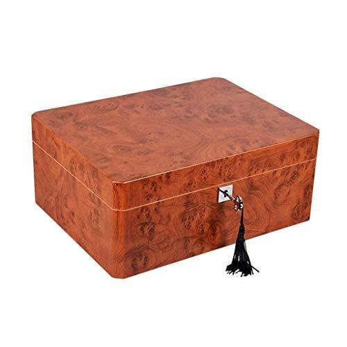 YO-TOKU Makeup Box Grote capaciteit kan houden 50 Sigaren bevochtiger en hygrometer Cigar Cabinet Cigarette Box Professional opslag Cigar Men's Gift Box Afmetingen: 300 * 230 * 127mm New classic Porta