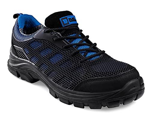 Baskets de sécurité Homme Waterproof Ultra légères avec Protection d'Orteil sans métal Semelle intermédiaire Kevlar Chaussure de Travail Cheville Randonneur 8007 S3 SRC