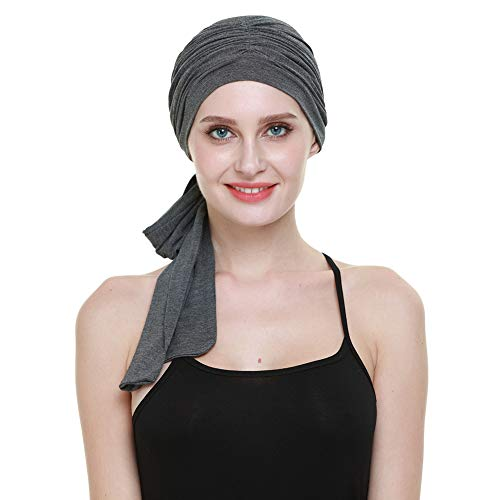 Chaleco para la cabeza, bambú ligero, fácil de atar, regalos dulces para mujeres pérdida de cabello, Dark Health Grey, Talla única
