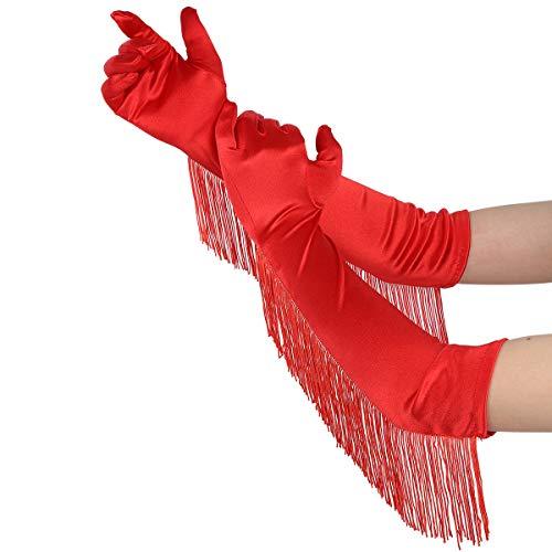 Freebily 1 Paar Damen Satin Handschuhe lang Vintage Opernhandschuhe mit Fransen 1920s Handschuhe für Performance Kostüm Party Hochzeit Rot One Size