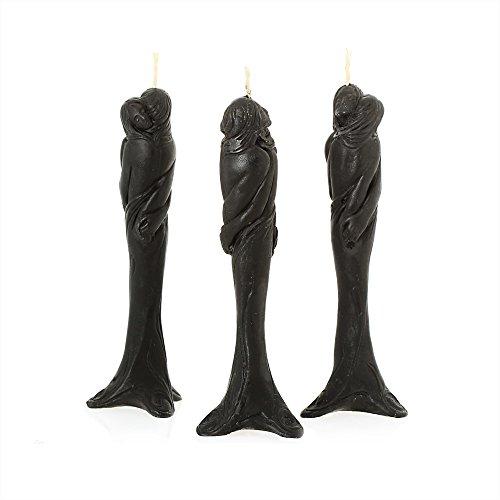 NKlaus - 3x Bienenwachs Stella der Liebe - schwarz Kerze - Figurenkerze Handarbeit Ritualkerze Tropfkerzen 36316