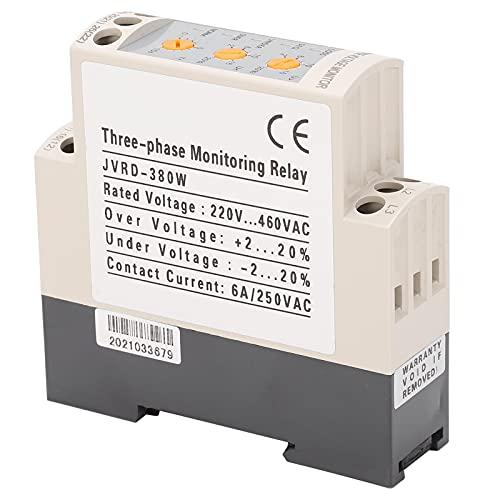 Relé de protección de voltaje, CA 220-460V Protector de subtensión, ajustable Relé de secuencia de monitor trifásico Jvrd-380W para ventiladores Bombas de agua Compresores de aire Grúas Conducción de
