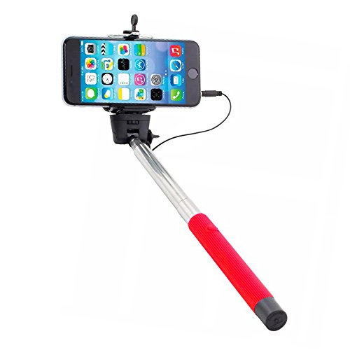 iWorld Red Selfie Stick Self-portrait Extendable Monopod with Built-in Shutter Release Button Collapsible Design for Most Smartphones