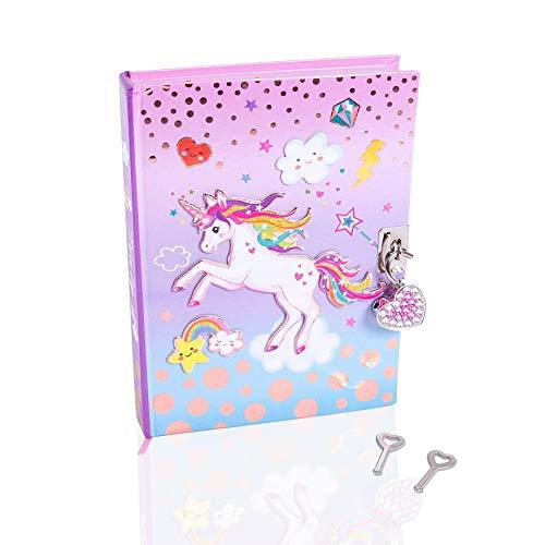 Art Girlz Unicorn Secret Tagebuch mit Schloss und Schlüssel - Mädchen Journal Notebook mit Herz Vorhängeschloss