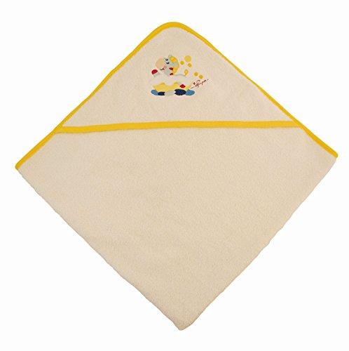 BIECO 44510000 - serviette à capuche bébé 100% coton en bordure beige, jaune et motif de zèbre, 100 x 100 cm, de 0 mois