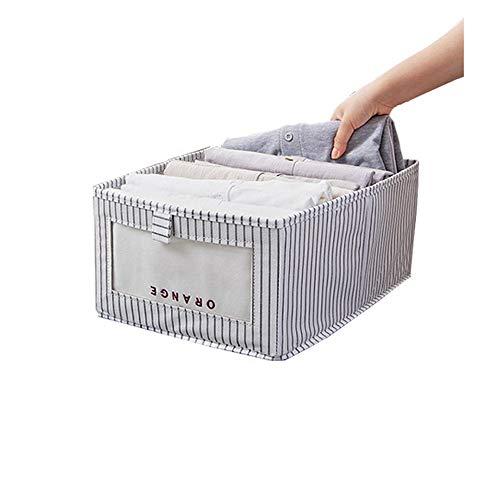 Hogar Caja de almacenamiento, plegable, apilable, caja de almacenamiento, ventana transparente grande, dormitorio, armario, tela no tejida (color : barra vertical gris)