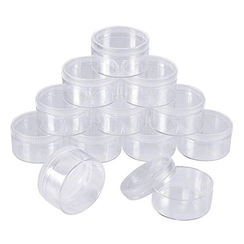 PandaHall 12 Pcs Rond Clair Vide Récipient en Plastique pour échantillons cosmétiques Pots de Pot avec couvercles à vis 38x21mm pour Le Maquillage, Le Fard à paupières, Ongles, Perles, Bijoux