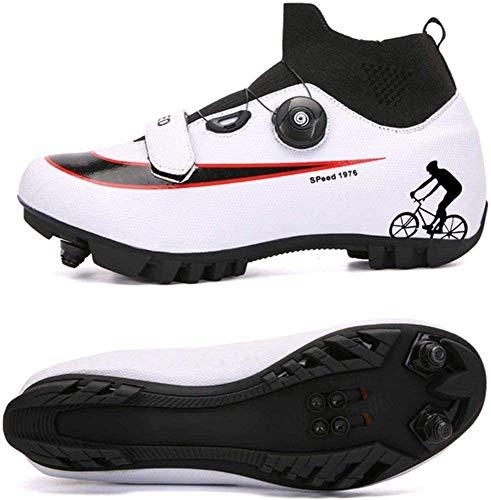 KUXUAN Zapatillas De Ciclismo MTB para Hombre,Zapatillas De Ciclismo De Montaña con Candados Zapatillas Deportivas De Invierno para Hombres Y Mujeres/Suelas De Nailon,White-A-11UK=(275mm)=45EU