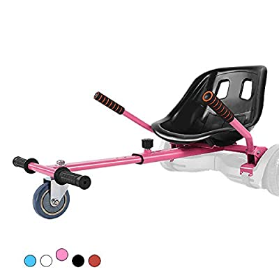 Hoverboard Kart, Hoverboard Seat Attachment Accessories for Self Balancing Scooter Go Kart Conversion Kit Hover Board Cart Buggy Attachment Fits 6.5'' 8'' 10'' Adjustable for All Heights & Ages Pink