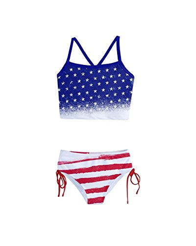 PattyCandy Girls Two Piece Tankini Swimsuit Blue & Red USA Flag Print - 12