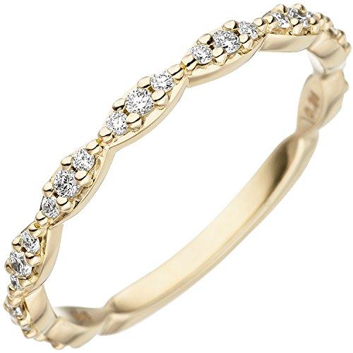 JOBO Damen Ring 585 Gold Gelbgold 27 Diamanten Brillanten Goldring Diamantring Größe 58