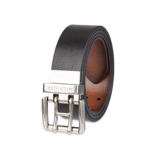 Tommy Hilfiger Reversible Leather Belt - Casual for Mens Jeans with Double Sided Strap and Silver Buckle, Black/Tan 2, X-Large (42-44)