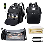 Baby Diaper Bag Backpack with Changing Station Diaper Bags for Boys Girl, Baby Registry New Mom Gifts for Women 3 in 1 Portable Multifunction Waterproof Travel Back Pack with Stroller Hook
